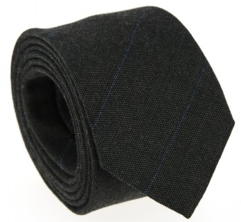 Dark Green Wool Tie with Blue Stripes - Greymouth