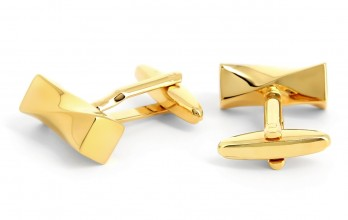 Gold rectangular cufflinks - Cayan