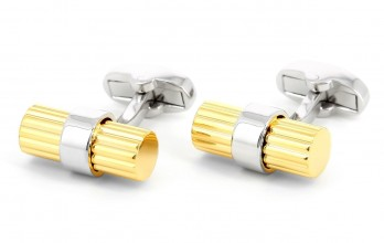 Gold and silver cylindrical cufflinks - Corinthe III