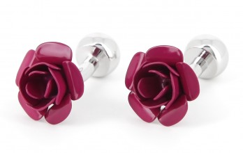 Rasperry coloured flower cufflinks - Azalée
