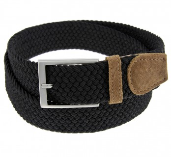 Elastic braided belt in black and grey - Rob II