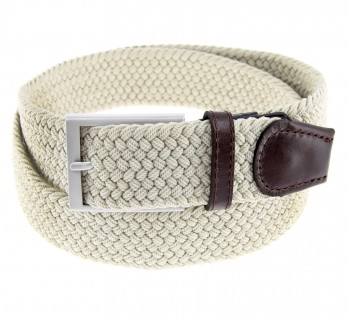 Elastic braided belt in beige - Rob II