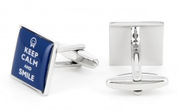 Quote cufflinks - Keep Calm and Smile