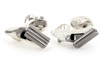 Deakin and Francis cufflinks - Engraved Shotgun