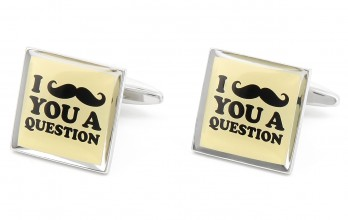 Quote cufflinks - I Mustache You a Question