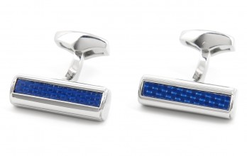 Cylindric blue Carbon cufflinks - Boston