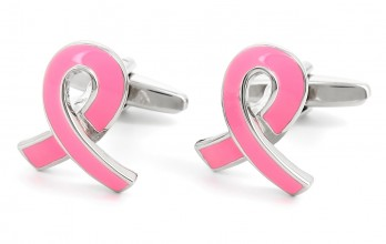 Rose cufflinks - Pink Ribbon