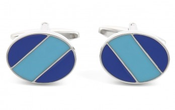 Blue and light blue oval cufflinks - Windsor II