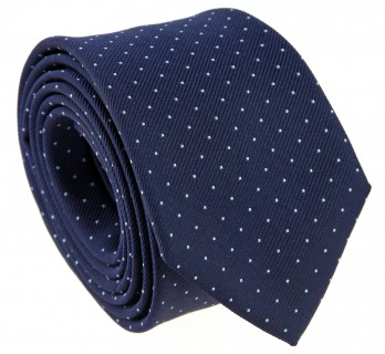 Navy Blue Tie with Small Light Blue Polka Dots - Washington II