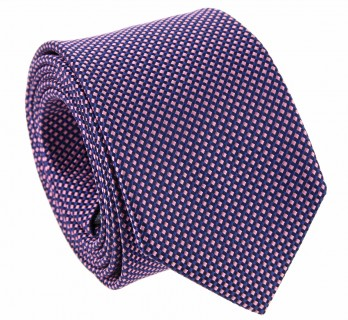 Navy Blue and Pink Basket Weave Silk The Nines