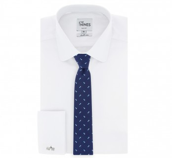 Navy blue Tie skyblue and blue dots pattern the Nines