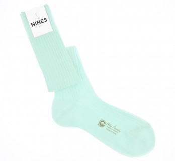 cotton lisle knee socks in aqua green, fine ribbed