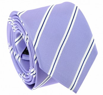 Light Purple Tie with Navyblue and White Stripes - Boston VI