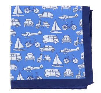 Blue pocket square with white cars, vans, plane, sailboats and bikes The Nines