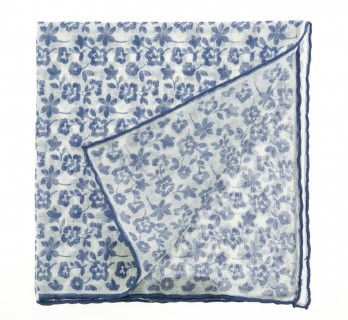 Blue flowered pocket square The Nines