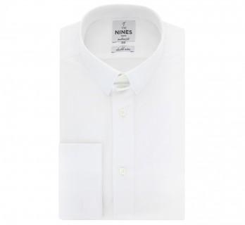 White tab collar French cuff shirt tailored fit