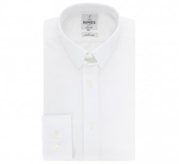 Slim fit white tab collar shirt