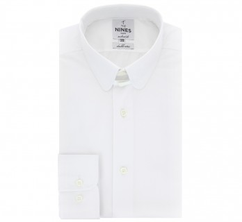 Tailored fit white rounded tab collar shirt