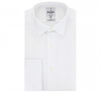 White ascot wing collar French cuff shirt slim fit