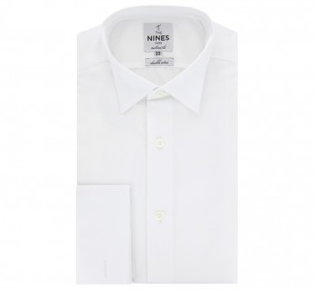 Tailored fit white ascot wing collar French Cuff shirt
