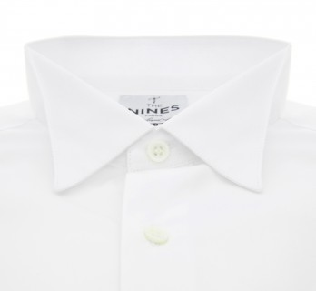 White ascot wing collar French cuff shirt tailored fit