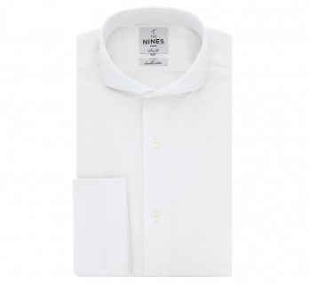 White cutaway collar French cuff shirt slim fit