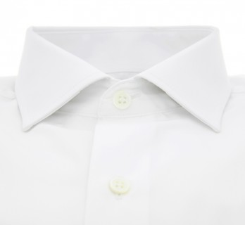Tailored fit white classic rounded collar shirt