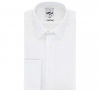 White Japanese collar French cuff shirt sllim fit