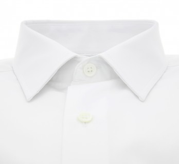 Tailored fit white japanese collar shirt