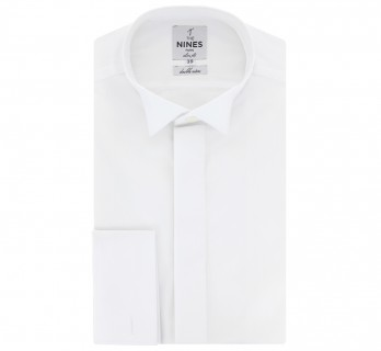 White wing collar for bow tie with hidden placket collar French Cuff shirt slim fit