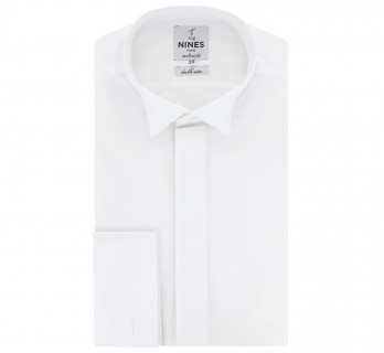 Tailored fit white wing collar for bow tie collar with hidden placket French Cuff shirt