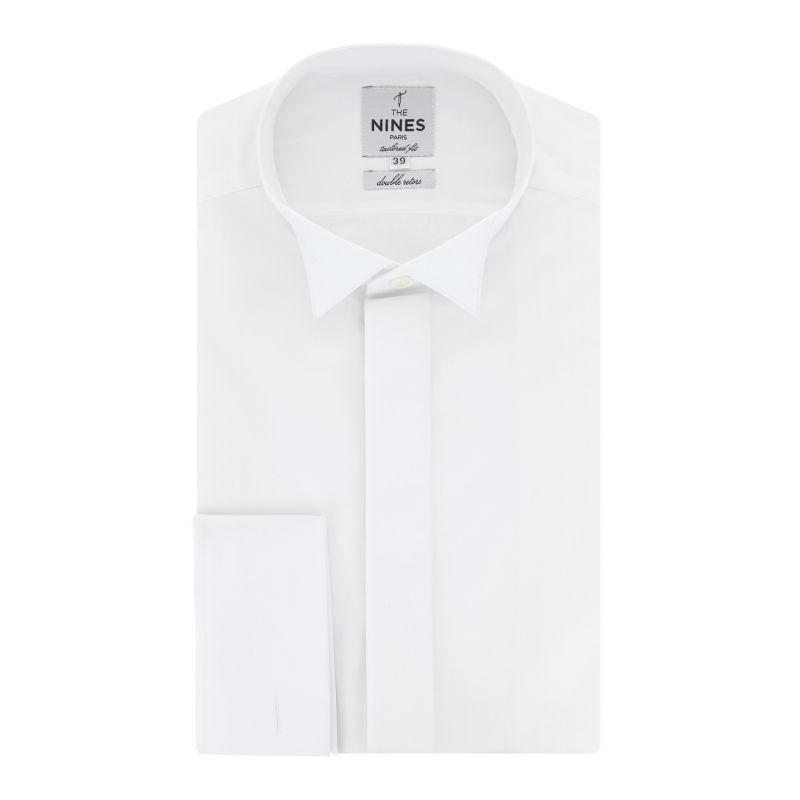White wing collar for bow tie with hidden placket collar French Cuff shirt