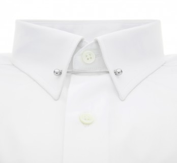 Slim fit white pin collar shirt