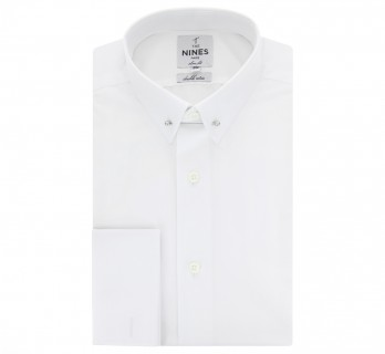 Extra slim fit white pin collar French Cuff shirt