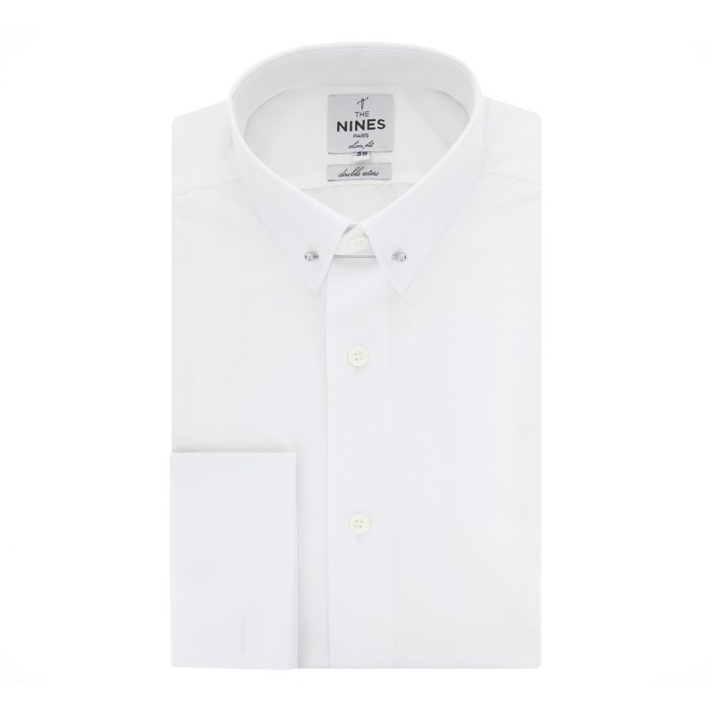 37241e0eaeb Extra slim white pin collar French Cuff shirt - The Nines