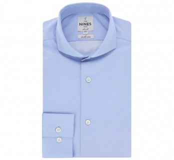 Slim fit blue cutaway collar shirt