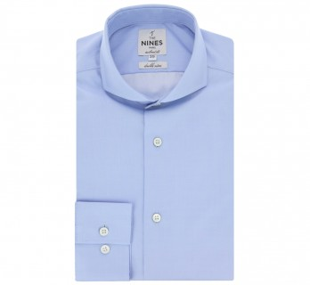Blue cutaway collar shirt Slim-fit