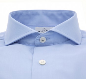 Blue cutaway collar French cuff shirt tailored fit