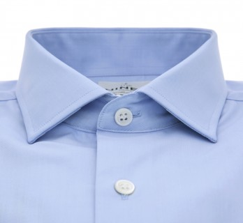 Blue shark collar French cuff shirt slim fit