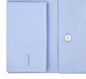 Blue shark collar French cuff shirt Slim-fit