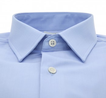 Tailored fit blue japanese collar shirt