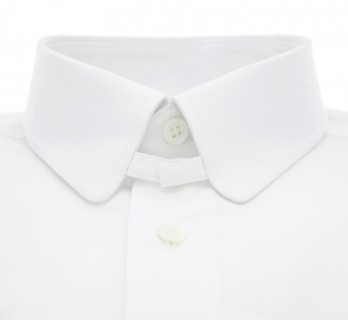 Slim fit white rounded tab collar shirt