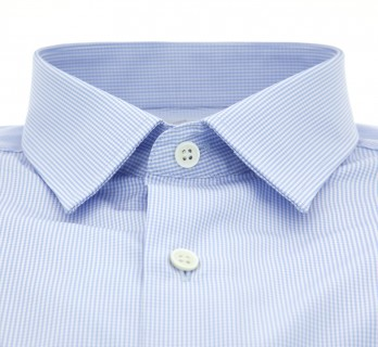 Sky blue Vichy Japanese collar shirt slim fit