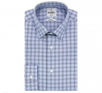 Blue checked Japanese collar shirt slim fit