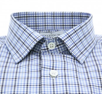 Tailored fit blue check japanese collar shirt