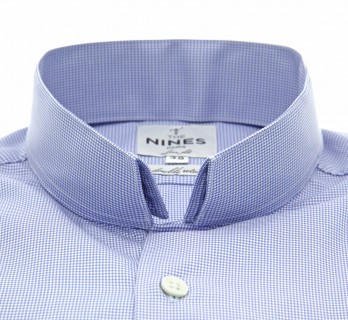 Blue houndstooth reverse collar shirt slim fit