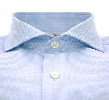 Tailored fit skyblue hound's tooth cutaway collar shirt
