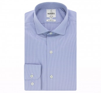 Blue houndstooth rounded shark collar shirt slim fit