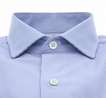 Slim-fit blue hound's tooth classic rounded collar shirt