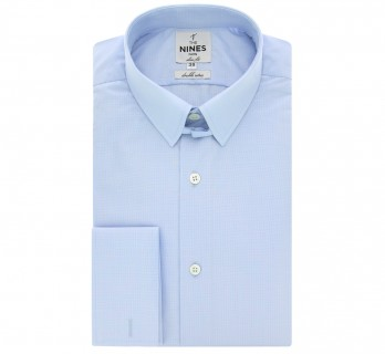 Slim fit skyblue hound's tooth tab collar French Cuff shirt